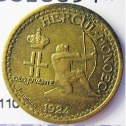 Monaco 50  Cts.  1924. (Poissy). AL/AE. 2gr. Ø18mm. MBC+. KM. 110