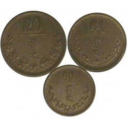 Mongolia Serie. 1937. (AH27). CUNI. (Serie de 3 Valores-(de 10 a 20 Mongo). Ø17, 19 y 22mm. MBC+/EBC-. MUY ESCASO/A. KM. 12 a 14