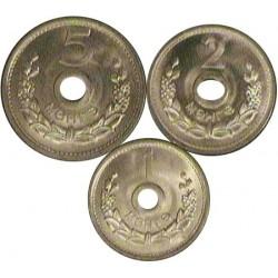 Mongolia Serie. 1959. AL. (Serie de 3 Valores-(de 1 a 5 Mongo). Ø18, 19 y 20mm. SC. MUY ESCASO/A. KM. 21 a 23