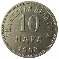 Montenegro 10 Para. 1908. NI. 3gr. Ø19mm. MBC+/EBC-. (Lev.marquitas). KM. 3