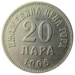 Montenegro 20 Para. 1906. NI. 4gr. Ø20,5mm. MBC+. KM. 4