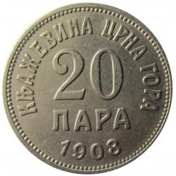 Montenegro 20 Para. 1908. NI. 4gr. Ø20,5mm. MBC+/EBC-. KM. 4