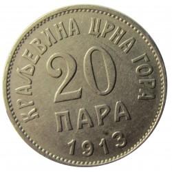 Montenegro 20 Para. 1913. NI. 4gr. Ø20,5mm. MBC+. KM. 18
