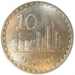 Mozambique 10  Meticais. 1980. CUNI. 9,18gr. (Industria). Ø28mm. SC-/SC. KM. 102
