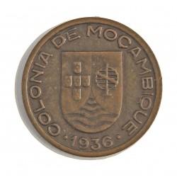 Mozambique 10  Ctvo.  1936. AE. 4gr. Ø22mm. SC-. (Marquita rev.Tono). MUY ESCASO/A. en esta conservacion.  KM. 63