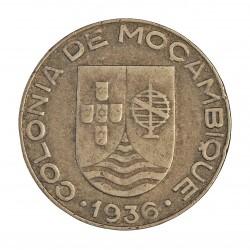 Mozambique 1  Escudos. 1936. CUNI. 7,8gr. Ø26mm. MBC/MBC+. MUY ESCASO/A. KM. 66