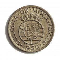 Mozambique 1  Escudos. 1950. CUNI. 8gr. Ø26mm. SC-/SC. (Tono original). RARO/A. en esta conservacion.  KM. 77