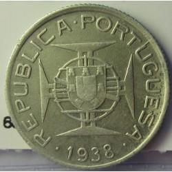 Mozambique 2,5  Escudos. 1938. AG. 3,5gr. Ley:0,650. Ø20mm. MBC-. KM. 68