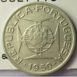 Mozambique 2,5  Escudos. 1950. AG. 3,5gr. Ley:0,650. Ø20mm. MBC+. KM. 68