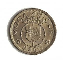 Mozambique 2,5  Escudos. 1954. CUNI. 3,2gr. Ø20mm. SC-/SC. MUY ESCASO/A. en esta conservacion. KM. 78