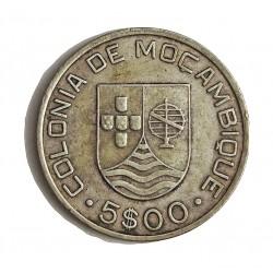 Mozambique 5  Escudos. 1935. AG. 7gr. Ley:0,650. Ø25mm. MBC+. KM. 62