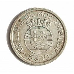 Mozambique 5  Escudos. 1938. AG. 7gr. Ley:0,650. Ø25mm. MBC+/EBC-. KM. 69