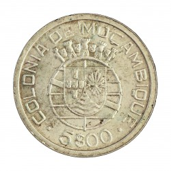 Mozambique 5  Escudos. 1949. AG. 7gr. Ley:0,650. Ø25mm. EBC-/EBC. KM. 69