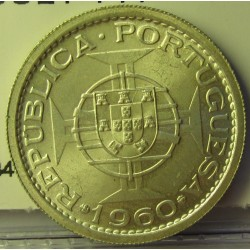 Mozambique 5  Escudos. 1960. AG. 4gr. Ley:0,650. Ø22mm. SC. KM. 84
