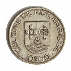 Mozambique 10  Escudos. 1936. AG. 12,5gr. Ley:0,835. Ø30mm. MBC+. KM. 67