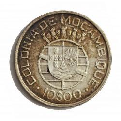 Mozambique 10  Escudos. 1938. AG. 12,5gr. Ley:0,835. Ø30mm. MBC+/EBC-. KM. 70