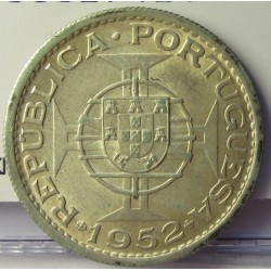Mozambique 10  Escudos. 1952. AG. 5gr. Ley:0,720. Ø24mm. EBC+/SC-. KM. 79