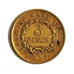 Africa Occid.-(Britanica) 3 Pence. 1920. LA. 1,14gr. Ley:0,000. (BRIT.WEST AFRICA). Ø16mm. MBC-/MBC. KM. 10 b