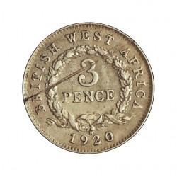 Africa Occid.-(Britanica) 3 Pence. 1920. H-(Heaton). AG. 1,144gr. Ley:0,500. (BRIT.WEST AFRICA). Ø16mm. MBC+. (Raya en rev.). R