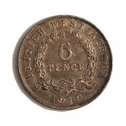 Africa Occid.-(Britanica) 6 Pence. 1919. H-(Heaton). AG. 2,828gr. Ley:0,925. (BRIT.WEST AFRICA). Ø19mm. EBC/EBC+. KM. 11