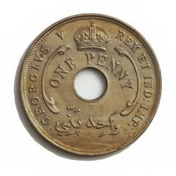 Africa Occid.-(Britanica) 1 Penny. 1917. Heaton. CUNI. 10gr. (BRIT.WEST AFRICA). Ø30,5mm. EBC-/EBC. KM. 9