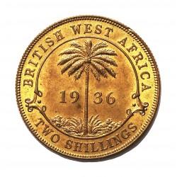 Africa Occid.-(Britanica) 2 Shilling. 1936. Heaton. AE. 11,5gr. (BRIT.WEST AFRICA). Ø28mm. SC-/SC. (Insig.manchita.Casi todo su