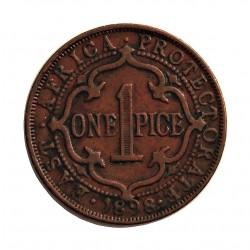 Africa del Este-(Britanica) 1 Pice. 1898. AE. 6,5gr. (EAST AFRICA-Protec.UGANDA). Ø25mm. MBC+/EBC-. KM. 1
