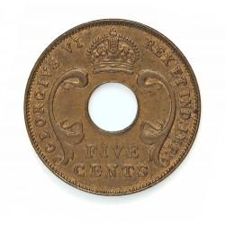 Africa del Este-(Britanica) 5 Cent. 1941. (Britis Royal Mint). AE. 6,4gr. (EAST AFRICA). Ø25mm. SC-/SC. (Tono). MUY ESCASO/A. e