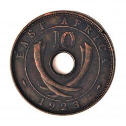 Africa del Este-(Britanica) 10 Cent. 1923. AE. 11,4gr. (EAST AFRICA). Ø30,5mm. EBC-. (En listel pqña.falta de metal). KM. 19