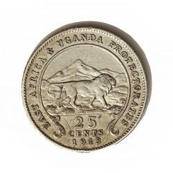Africa del Este-(Britanica) 25 Cts. 1913. AG. 2,916gr. Ley:0,800. (EAST AFRICA-Protec.UGANDA). Ø18mm. MBC. KM. 10