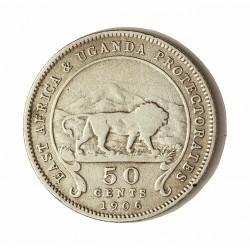 Africa del Este-(Britanica) 50 Cts. 1906. AG. 5,832gr. Ley:0,800. (EAST AFRICA-Protec.UGANDA). Ø23mm. MBC-. KM. 4