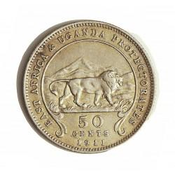 Africa del Este-(Britanica) 50 Cts. 1911. AG. 5,832gr. Ley:0,800. (EAST AFRICA-Protec.UGANDA). Ø23mm. EBC-. KM. 9