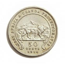 Africa del Este-(Britanica) 50 Cts. 1914. AG. 5,832gr. Ley:0,800. (EAST AFRICA-Protec.UGANDA). Ø23mm. MBC/MBC+. KM. 9