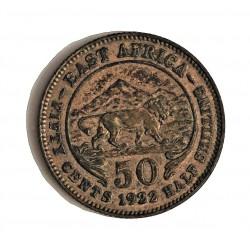 Africa del Este-(Britanica) 50 Cts. 1922. AG. 3,888gr. Ley:0,250. (EAST AFRICA). Ø21mm. EBC+. KM. 20
