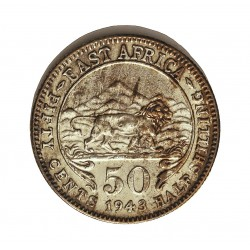 Africa del Este-(Britanica) 50 Cts. 1943. H-Heaton. AG. 3,888gr. Ley:0,250. (EAST AFRICA). Ø21mm. EBC/EBC+. KM. 27