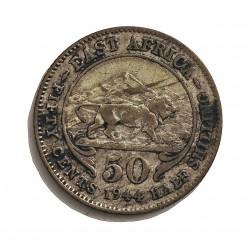 Africa del Este-(Britanica) 50 Cts. 1944. H-Heaton. AG. 3,888gr. Ley:0,250. (EAST AFRICA). Ø21mm. MBC. KM. 27