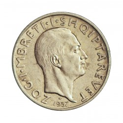 Albania 1 Frang/a. 1937. R-(Roma). AG. 5gr. Ley:0,835. (Zog I). Ø23mm. EBC. KM. 16