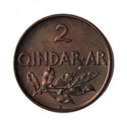 Albania 2 Qindar Ari. 1935. R-(Roma). AE. 4,4gr. (Rama de Laurel). Ø21mm. SC-/SC. (Lev.patina oscura). MUY RARO/A. en esta cons