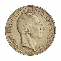 Albania 2 Frang/a. 1937. R-(Roma). AG. 10gr. Ley:0,835. (Rey Zog). Ø27mm. MBC/MBC+. KM. 19