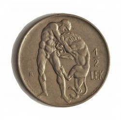 Albania ½ Lek. 1926. R-(Roma). NI. 5,9gr. (Hercules lucha con Leon). Ø24mm. MBC-/MBC. KM. 4