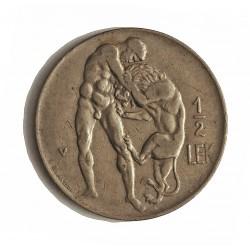 Albania ½ Lek. 1930. V-(Viena). NI. 5,9gr. (Hercules lucha con Leon). Ø24mm. MBC-/MBC. KM. 13