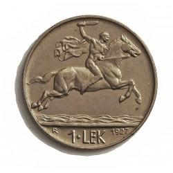 Albania 1 Lek. 1927. R-(Roma). NI. 8,1gr. (Jinete a Caballo). Ø26mm. MBC+. KM. 5