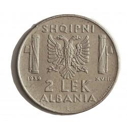 Albania 2 Lek. 1939. R-(Roma). ACERO. 10gr. (Ocupacion Italiana WWII). Ø28,7mm. MBC+. KM. 32