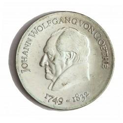 Alemania Democratica 20 Marcos. 1969. AG. 20,9gr. Ley:0,625. (Goethe). Ø33mm. SC. MUY ESCASO/A. KM. 25