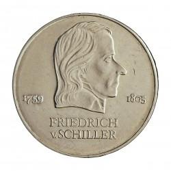 Alemania Democratica 20 Marcos. 1972. CUNI. 15gr. (Schiller). Ø33mm. SC-. KM. 40