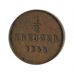 Alemania Estados ½ Kreuzer. 1855. Wurttemberg. CU. 1,86gr. Ø18mm. MBC+. KM. 585