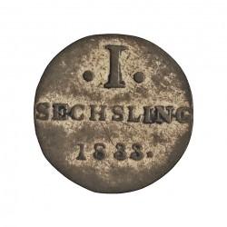 Alemania Estados 1 Sechsling. 1833. Hamburgo. HSK. AG. 0,76gr. Ley:0,250. Ø13mm. MBC+/EBC-. KM. 525.2