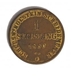 Alemania Estados 1 Sechsling. 1850. SCHLESWIG-HOLSTEIN. TA. CU. 9,5gr. Ø27mm. MBC+. (Restos de baño dorado). KM. C.24