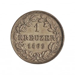 Alemania Estados 1 Kreuzer. 1869. HESSE-DARMSTADT. AG. 0,83gr. Ley:0,166. Ø14mm. SC-/SC. (Insig.oxid.). KM. 339