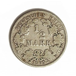 Alemania Estados ½ Marcos. 1905. A-(Berlin). CUNI. 2,8gr. Ley:0,900. Ø20mm. MBC-. KM. 17